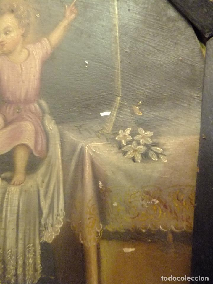 Arte: Cuadro oleo sobre chapa San Antonio Padua con Niño s. XVIII - Foto 5 - 95576951