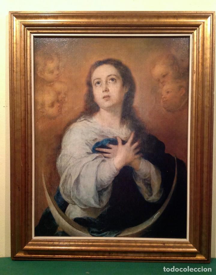 ANTIGUO CUADRO RELIGIOSO DE VIRGEN CON MARCO LAMINA SOBRE TELA MEDIDAS 70X56CM (Arte - Pintura - Pintura al Óleo Moderna sin fecha definida)