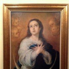 Arte: ANTIGUO CUADRO RELIGIOSO DE VIRGEN CON MARCO LAMINA SOBRE TELA MEDIDAS 70X56CM. Lote 95588775