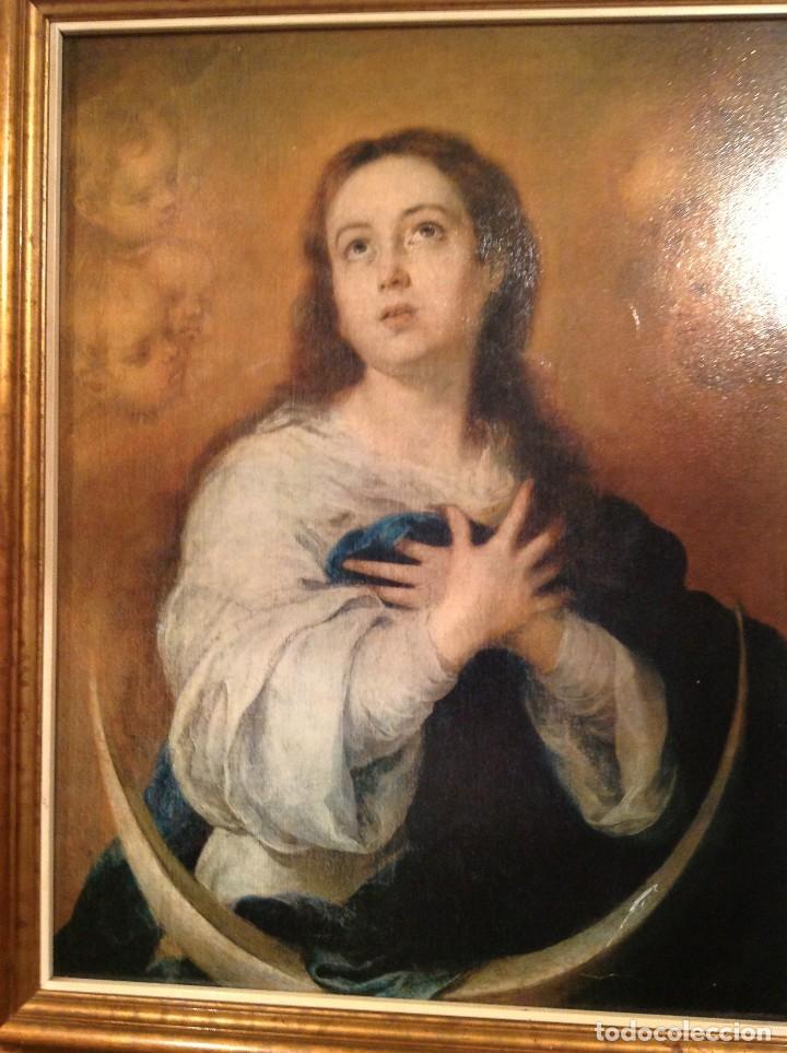 Arte: Antiguo Cuadro Religioso De Virgen Con Marco Lamina Sobre Tela Medidas 70X56CM - Foto 2 - 95588775