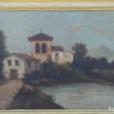 Arte: PAISAJE AL OLEO DE ESCUELA ANDALUZA DEL SIGLO XIX, FIRMADO V. MOLINA. Lote 95751795