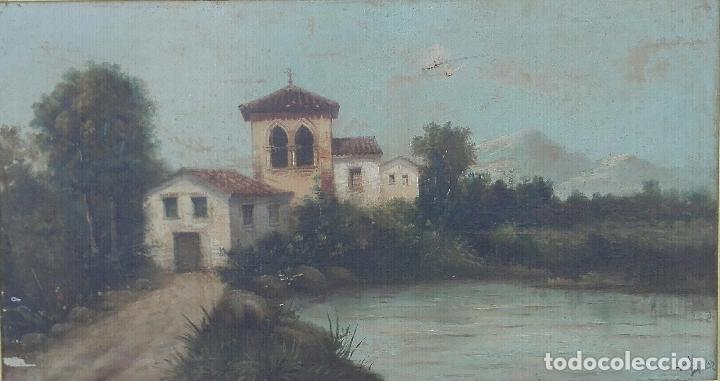Arte: Paisaje al oleo de Escuela Andaluza del siglo XIX, firmado V. Molina - Foto 2 - 95751795