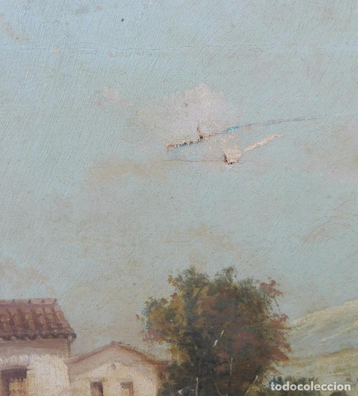 Arte: Paisaje al oleo de Escuela Andaluza del siglo XIX, firmado V. Molina - Foto 3 - 95751795