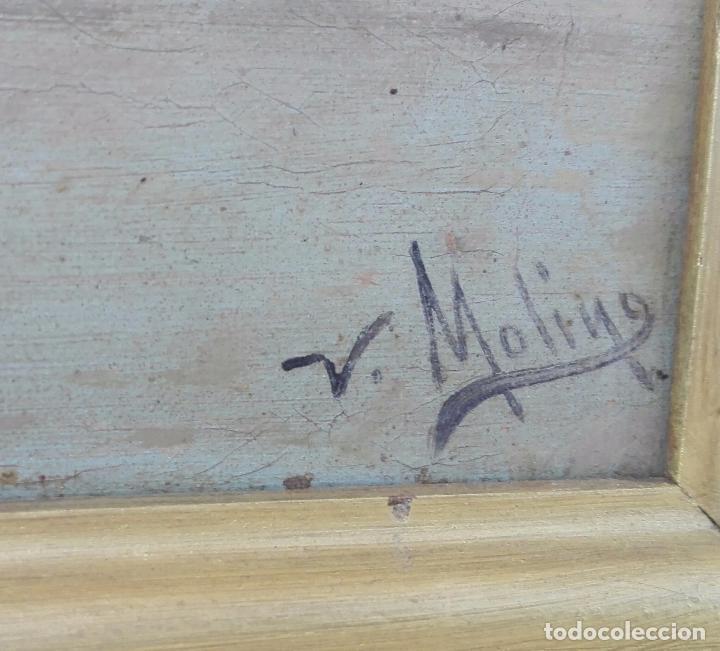 Arte: Paisaje al oleo de Escuela Andaluza del siglo XIX, firmado V. Molina - Foto 4 - 95751795