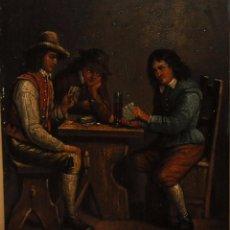 Arte: ESCUELA FLAMENCA DEL SIGLO XIX. OLEO SOBRE PLANCHA FIRMADO TENIERS. TAVERNA CON PERSONAJES. Lote 95812047