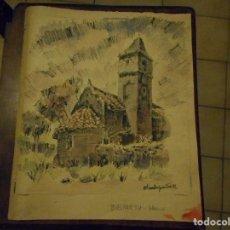 Arte: MAGNIFICO DIBUJO PINTURA DE FRANCESC CHARLES PARDELL 1912-1984 ERMITA SABADELL ACUARELA CERA . Lote 95845895