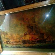 Arte: ANTIGUO CUADRO PINTURA DEL SIGLO XVIII O XIX..BATALLA TRAFALGAR. Lote 95890607