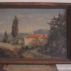 Arte: OLEO DE JOAN GRAU MAS.1949. ERMITA DE SANT BERTOMEU DE CABANYES.ÒRRIUS, MARESME.BARCELONA.. Lote 95942027