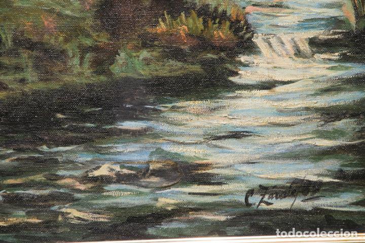 """Arte: Óleo sobre lienzo. Escuela vasca. Caserío junto a un río. Firmado: C. Zárate. 89"""". Enmarcado. - Foto 2 - 96155015"""