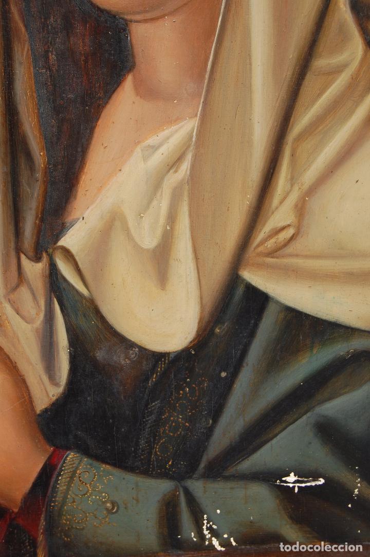 Arte: Retrato de Isabel I La Católica. Oleo sobre tabla. 44 cm de base y 61cm. de altura - Foto 5 - 96097607