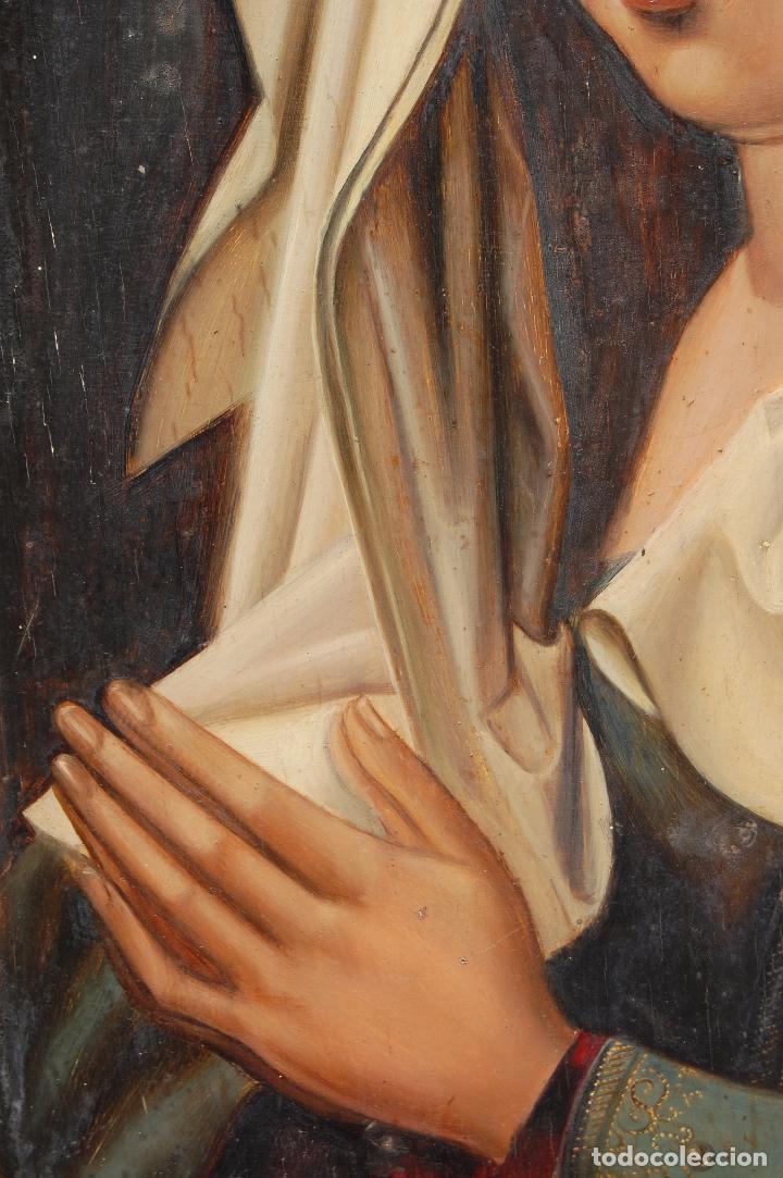 Arte: Retrato de Isabel I La Católica. Oleo sobre tabla. 44 cm de base y 61cm. de altura - Foto 8 - 96097607
