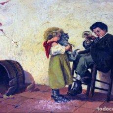 Arte: NIÑOS JUGANDO. ÓLEO SOBRE TELA. FIRMADO BERGIER (ALFRED?). FRANCIA. FIN SIGLO XIX. Lote 96574959