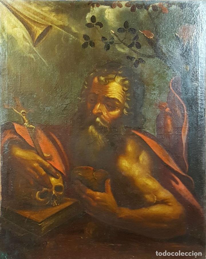 SAN GERONIMO. ÓLEO SOBRE LIENZO. ANONIMO. ESCUELA ESPAÑOLA. SIGLO XVII-XVIII. (Arte - Pintura - Pintura al Óleo Antigua siglo XVII)
