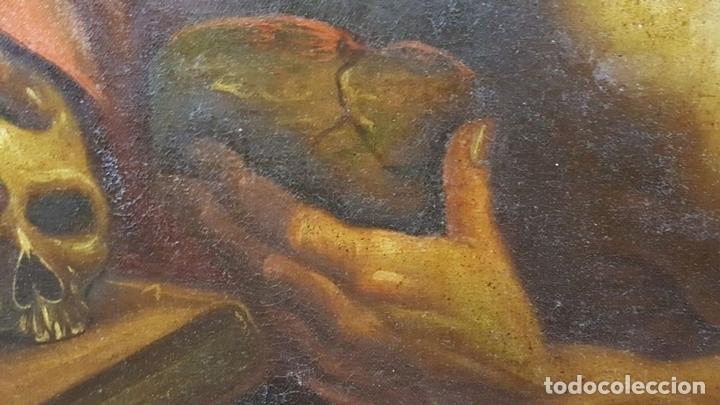 Arte: SAN GERONIMO. ÓLEO SOBRE LIENZO. ANONIMO. ESCUELA ESPAÑOLA. SIGLO XVII-XVIII. - Foto 10 - 76087783
