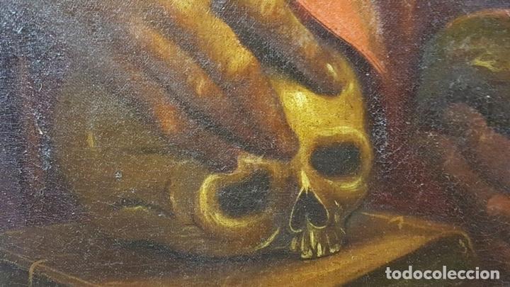 Arte: SAN GERONIMO. ÓLEO SOBRE LIENZO. ANONIMO. ESCUELA ESPAÑOLA. SIGLO XVII-XVIII. - Foto 11 - 76087783
