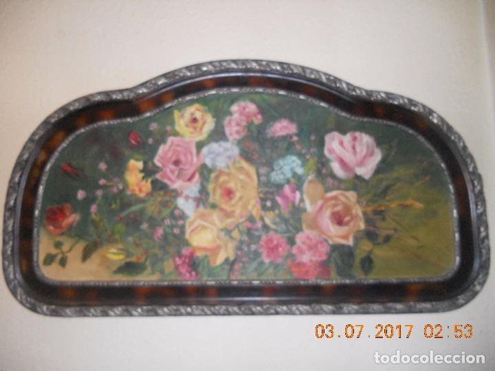 ANTIGUO CUADRO DE MADERA AL OLIO SOBRE TABLA DE FLORES (Arte - Pintura - Pintura al Óleo Antigua sin fecha definida)