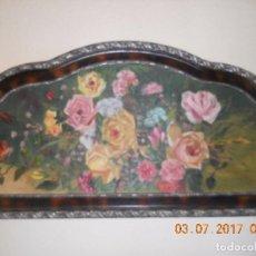 Arte: ANTIGUO CUADRO DE MADERA AL OLIO SOBRE TABLA DE FLORES . Lote 96603347