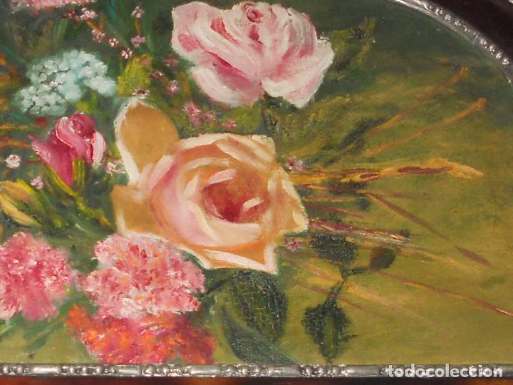 Arte: ANTIGUO CUADRO DE MADERA AL OLIO SOBRE TABLA DE FLORES - Foto 2 - 96603347