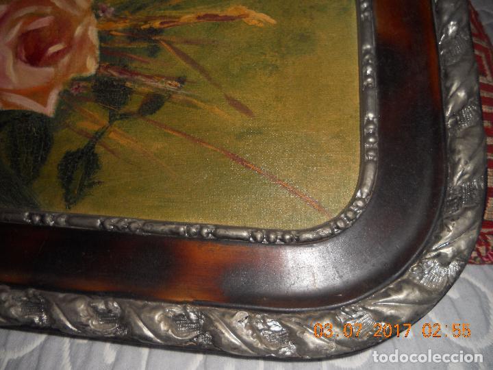 Arte: ANTIGUO CUADRO DE MADERA AL OLIO SOBRE TABLA DE FLORES - Foto 3 - 96603347