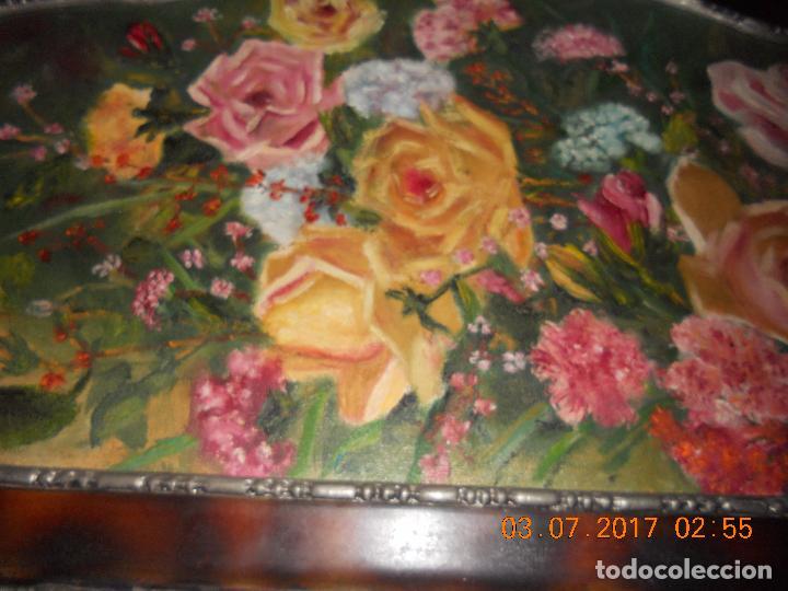 Arte: ANTIGUO CUADRO DE MADERA AL OLIO SOBRE TABLA DE FLORES - Foto 4 - 96603347