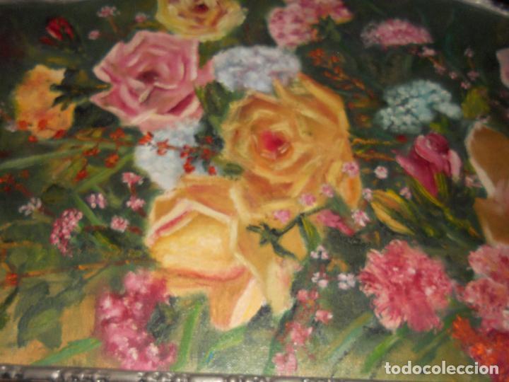 Arte: ANTIGUO CUADRO DE MADERA AL OLIO SOBRE TABLA DE FLORES - Foto 7 - 96603347