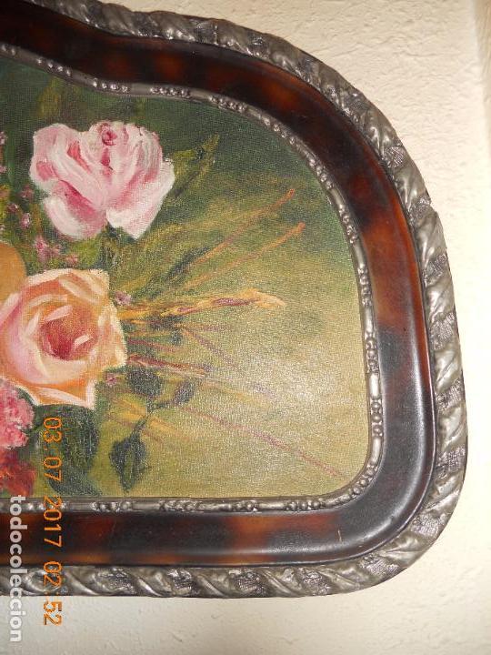 Arte: ANTIGUO CUADRO DE MADERA AL OLIO SOBRE TABLA DE FLORES - Foto 13 - 96603347