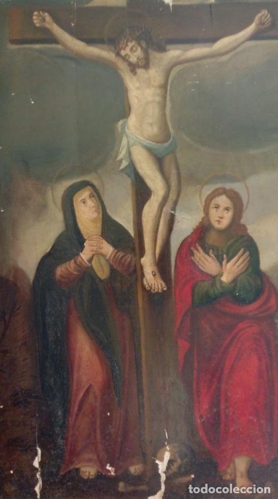 Arte: ÓLEO S/TABLA -CALVARIO-. ESCUELA ESPAÑOLA DE ALTA ÉPOCA S. XVI. DIM.- 72,5X55,5 CMS. - Foto 2 - 96685715