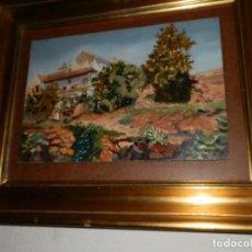 Arte: OLEO EN TABLEX 35X24,CASA DE LABOR, FIRMA PELLICER,EN MARCO DORADO 44X54X7. Lote 96719203