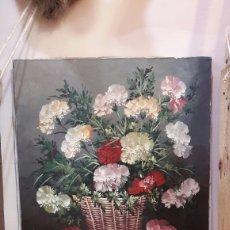 Arte: BODEGÓN FLORES AL ÓLEO SOBRE TELA SIN ENMARCAR FINALES SIGLO XVIII.. Lote 96830674