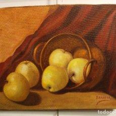 Arte: PINTURA BODEGON MANZANAS. ANTIGUA FIRMADA BARRERA. Lote 96869243