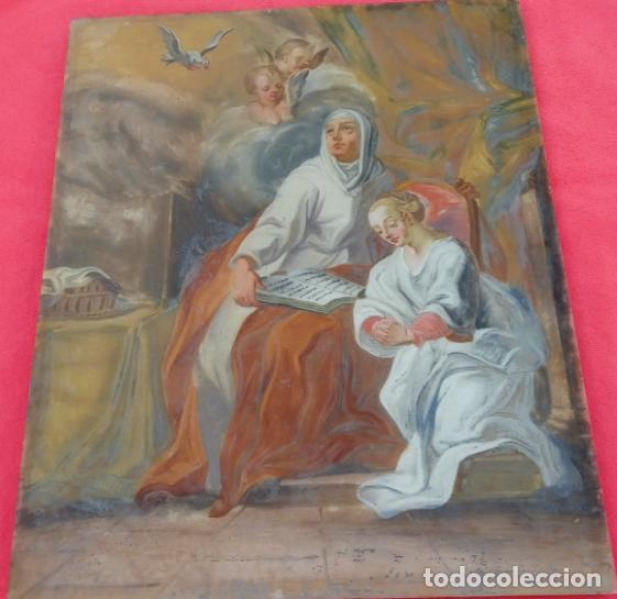 Arte: ÓLEO BAJO CRISTAL -SANTA ANA ENSEÑANDO A LEER A LA VIRGEN-. S. XVIII -ESC NAPOLITANA-. DIM.- 40X47 - Foto 2 - 96941879