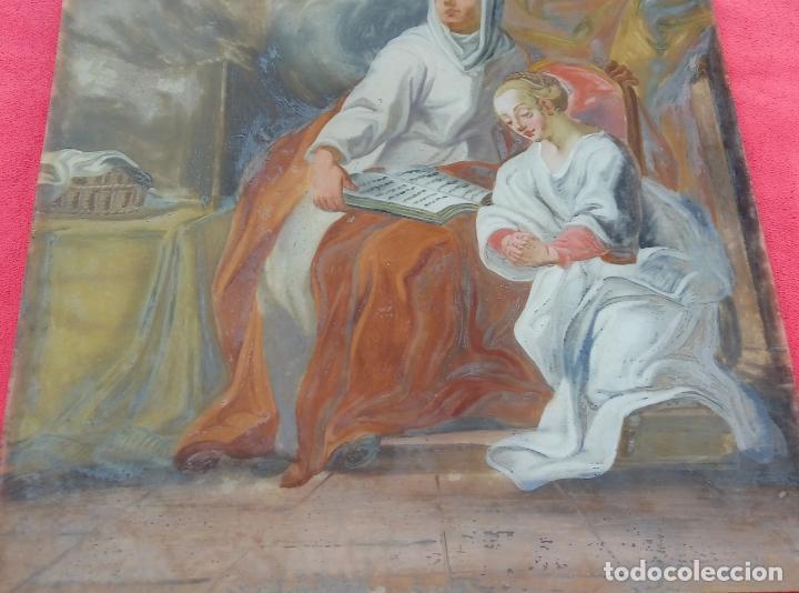 Arte: ÓLEO BAJO CRISTAL -SANTA ANA ENSEÑANDO A LEER A LA VIRGEN-. S. XVIII -ESC NAPOLITANA-. DIM.- 40X47 - Foto 4 - 96941879