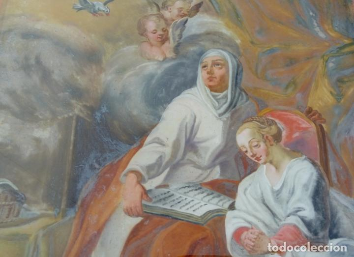 Arte: ÓLEO BAJO CRISTAL -SANTA ANA ENSEÑANDO A LEER A LA VIRGEN-. S. XVIII -ESC NAPOLITANA-. DIM.- 40X47 - Foto 5 - 96941879