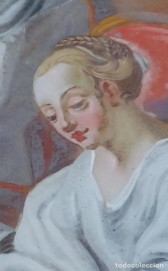 Arte: ÓLEO BAJO CRISTAL -SANTA ANA ENSEÑANDO A LEER A LA VIRGEN-. S. XVIII -ESC NAPOLITANA-. DIM.- 40X47 - Foto 8 - 96941879