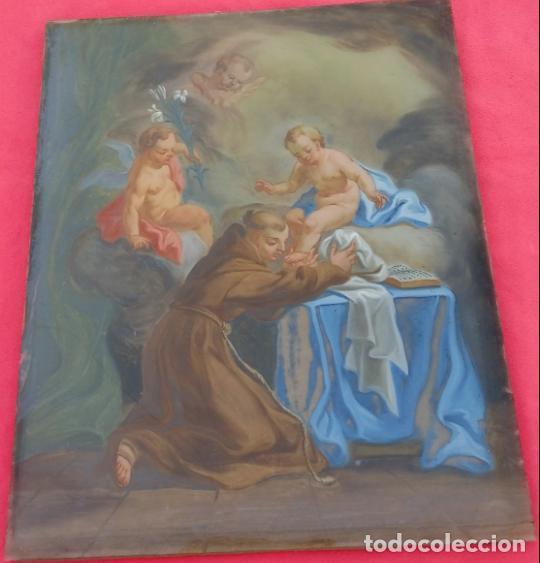 ÓLEO BAJO CRISTAL -SAN ANTONIO-. S. XVIII -ESC NAPOLITANA-. DIM.- 40X47 (Arte - Pintura - Pintura al Óleo Antigua siglo XVIII)