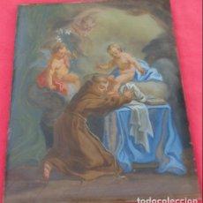 Arte: ÓLEO BAJO CRISTAL -SAN ANTONIO-. S. XVIII -ESC NAPOLITANA-. DIM.- 40X47. Lote 96942219