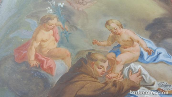 Arte: ÓLEO BAJO CRISTAL -SAN ANTONIO-. S. XVIII -ESC NAPOLITANA-. DIM.- 40X47 - Foto 4 - 96942219