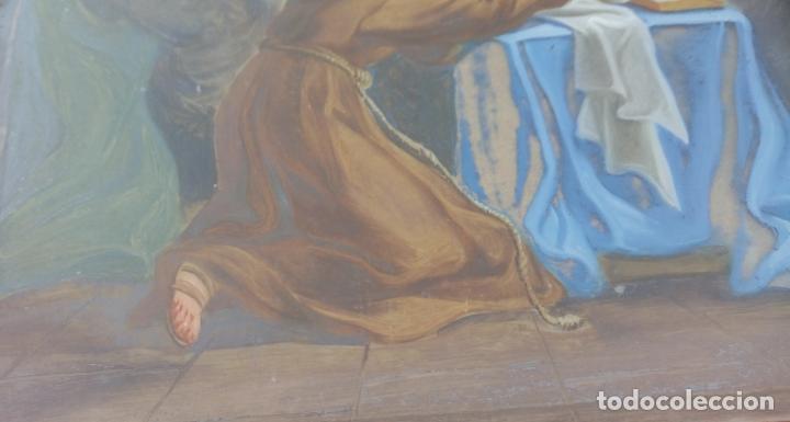 Arte: ÓLEO BAJO CRISTAL -SAN ANTONIO-. S. XVIII -ESC NAPOLITANA-. DIM.- 40X47 - Foto 5 - 96942219