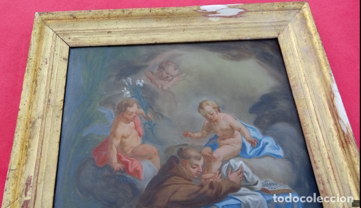 Arte: ÓLEO BAJO CRISTAL -SAN ANTONIO-. S. XVIII -ESC NAPOLITANA-. DIM.- 40X47 - Foto 6 - 96942219