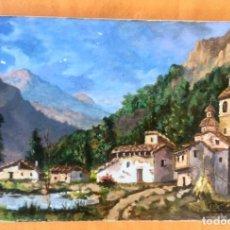 Arte: OLEO G.TAVIRA PAISAJE MONTAÑOSO E IGLESIA ARAGON CATALUÑA O FRANCIA ZONA PIRENAICA 33,5X22,5 CM . Lote 96962779