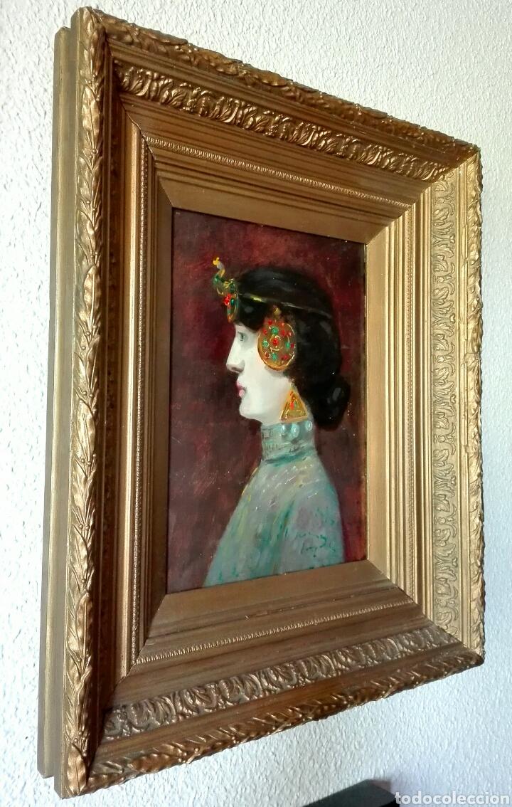 Arte: Escuela Francesa. Óleo sobre tabla. Art Nouveau Circa 1900 - Foto 2 - 96970264