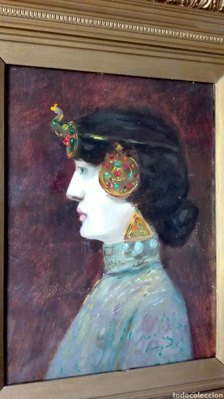 Arte: Escuela Francesa. Óleo sobre tabla. Art Nouveau Circa 1900 - Foto 3 - 96970264