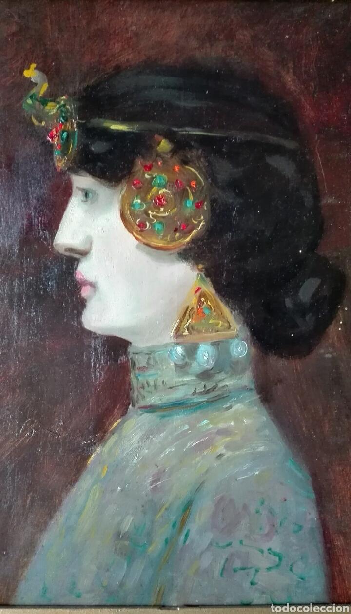 Arte: Escuela Francesa. Óleo sobre tabla. Art Nouveau Circa 1900 - Foto 4 - 96970264