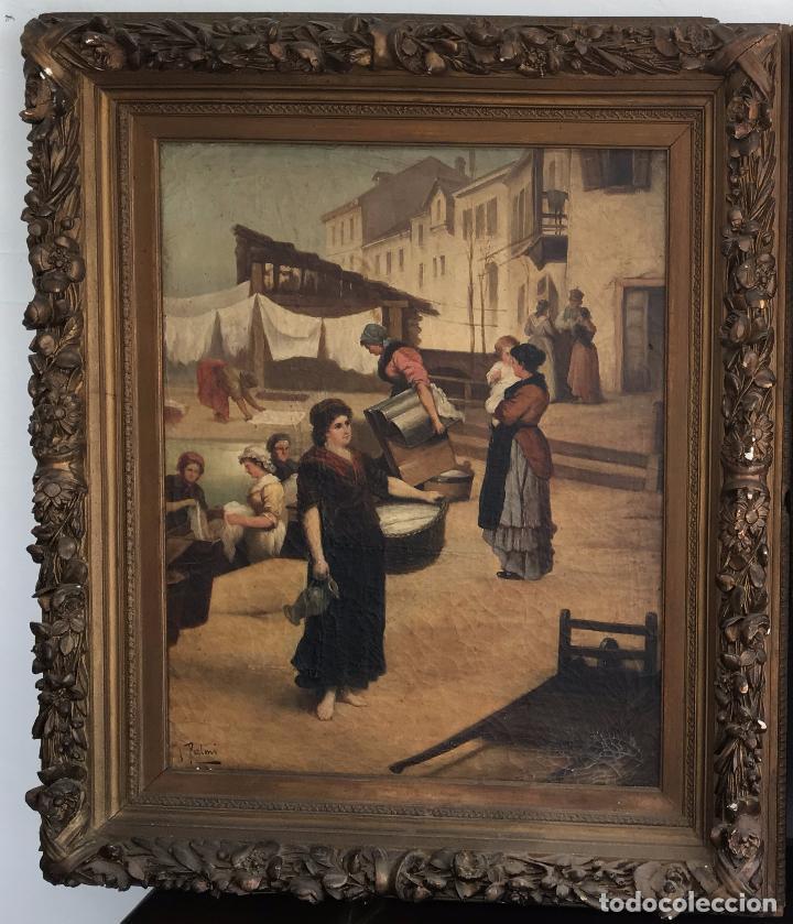 ÓLEO SOBRE LIENZO, FIRMADO J.PALMI. OIL ON CANVAS SIGNED J.PALMI. (Arte - Pintura - Pintura al Óleo Moderna siglo XIX)