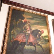 Arte: REY CARLOS I DE ESPAÑA Y V DEL SACRO IMPERIO ROMANO GERMÁNICO [LIENZO GRANDE AL OLEO SIN EL MARCO]. Lote 97246591