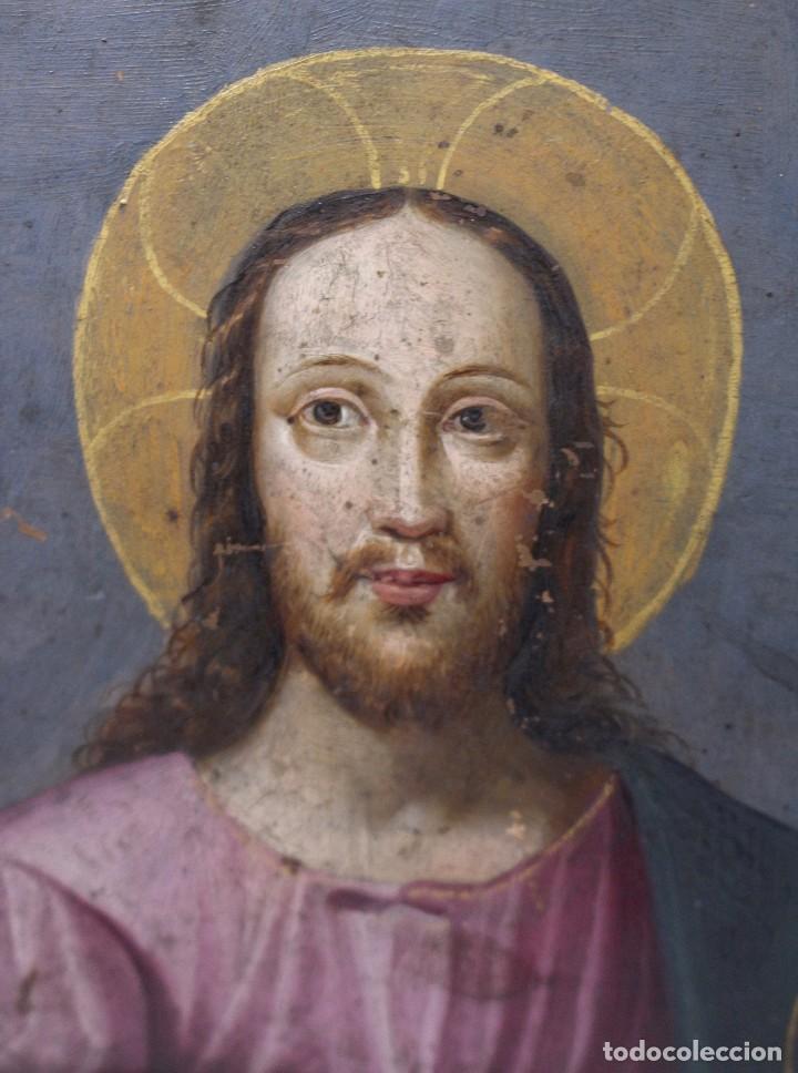 RETRATO AL OLEO DE JESUS SOBRE COBRE - 14 X 12 CM CON MARCO - S. XVII. (Arte - Pintura - Pintura al Óleo Antigua sin fecha definida)