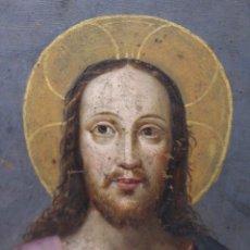 Arte: RETRATO AL OLEO DE JESUS SOBRE COBRE - 14 X 12 CM CON MARCO - S. XVII.. Lote 97358783