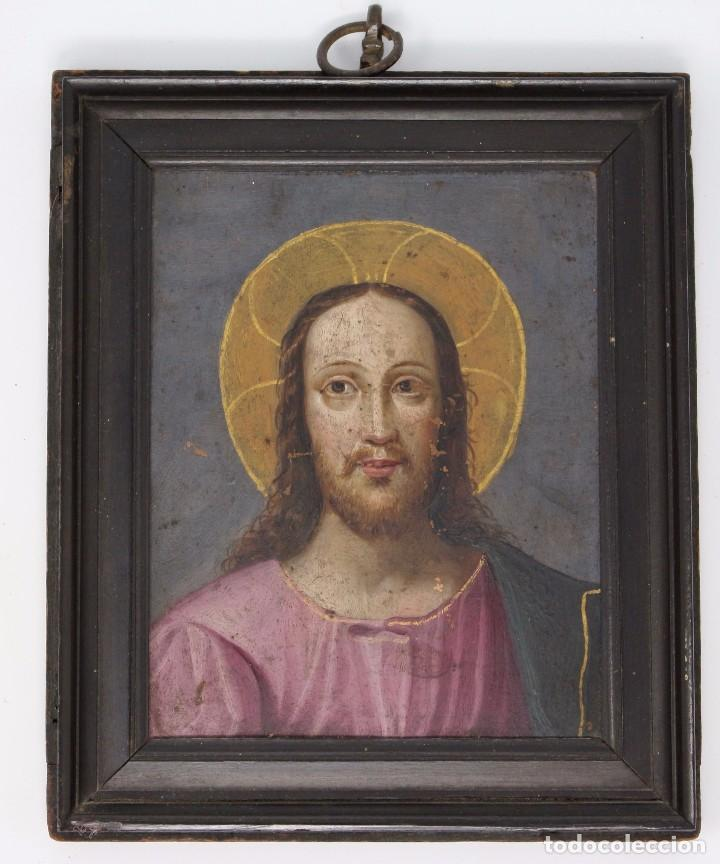 Arte: RETRATO AL OLEO DE JESUS SOBRE COBRE - 14 X 12 cm CON MARCO - S. XVII. - Foto 2 - 97358783