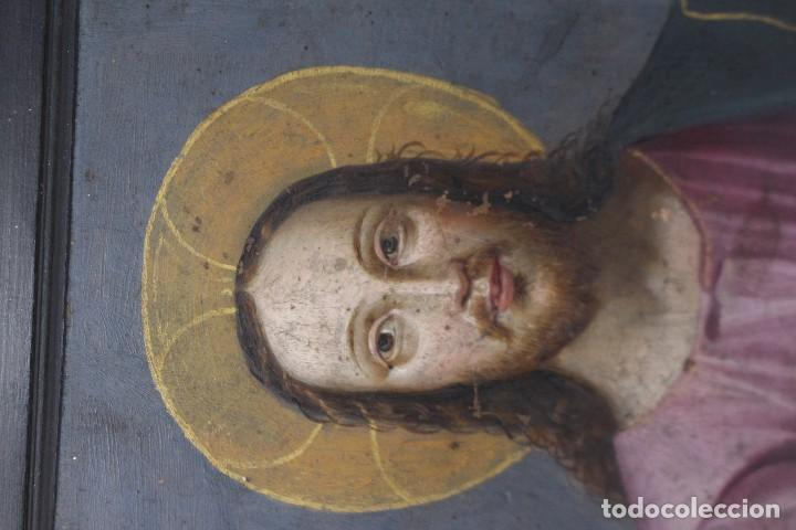 Arte: RETRATO AL OLEO DE JESUS SOBRE COBRE - 14 X 12 cm CON MARCO - S. XVII. - Foto 3 - 97358783