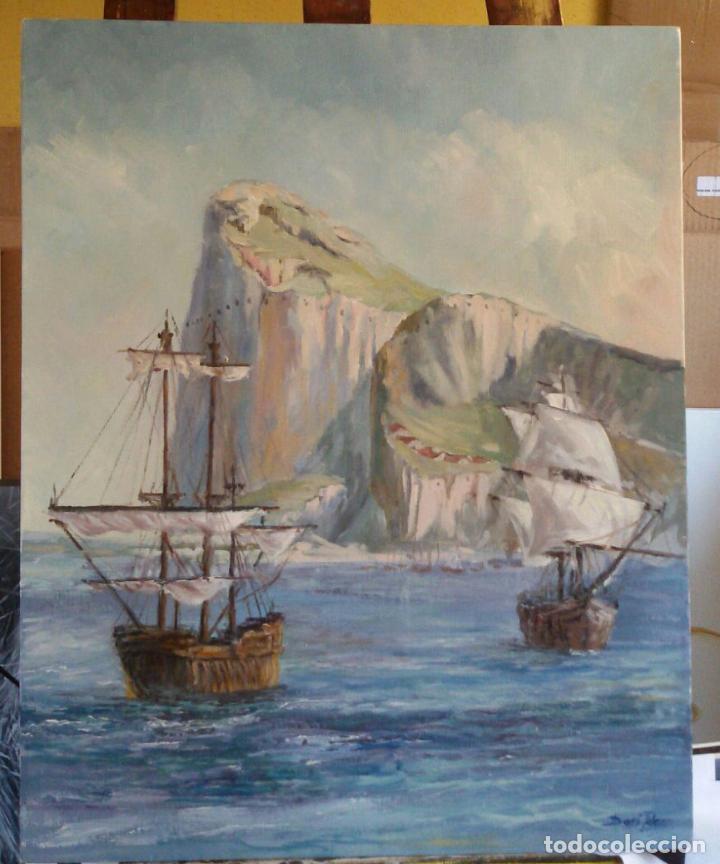 GIBRALTAR. BARCOS EN LA BAHÍA. LIENZO 40X49,7. MARCO SIGLO XIX CAOBA. (Arte - Pintura - Pintura al Óleo Contemporánea )
